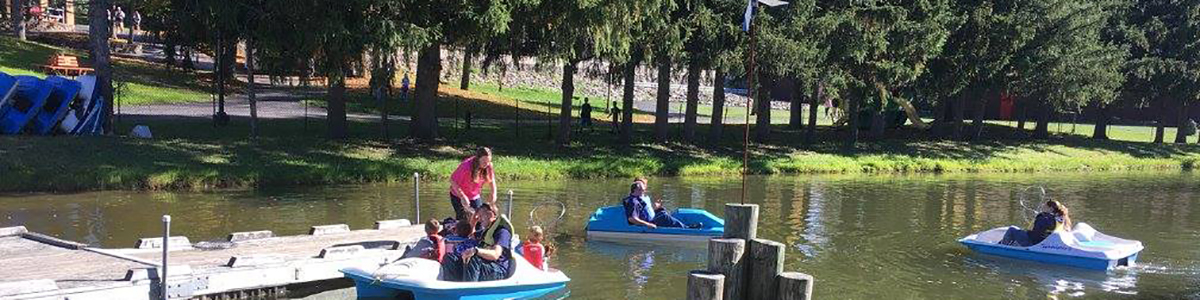 Sunshine Campus paddle-boats Ezra's Pond